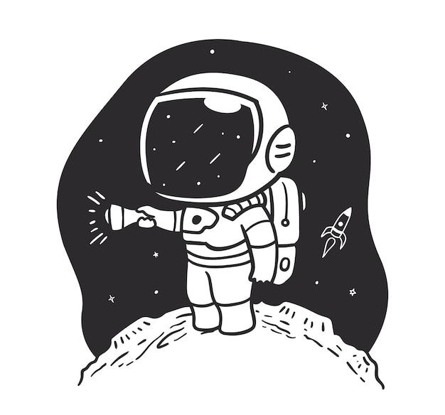 Doodle astronaut looking outside space with flashlight