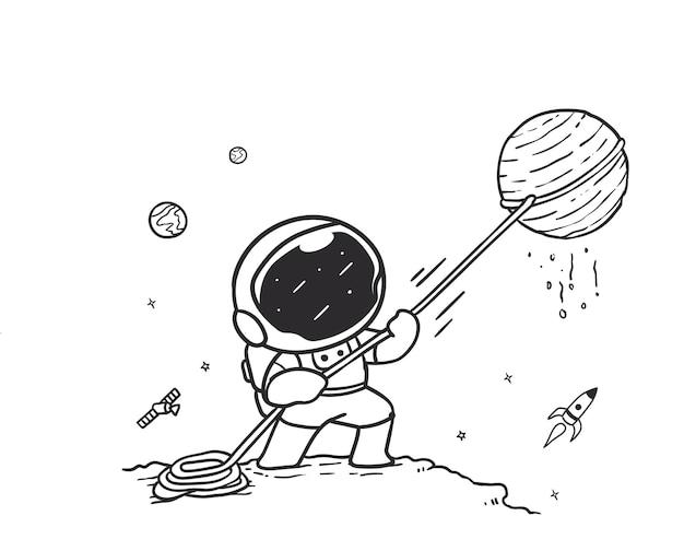 Астронавт каракули тянет планету с веревкой в космическом пространстве