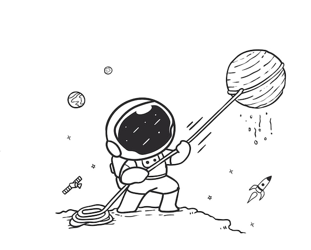 Doodle astronaut pulling a planet with a rope in outer space