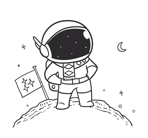 Doodle astronaut standing in space