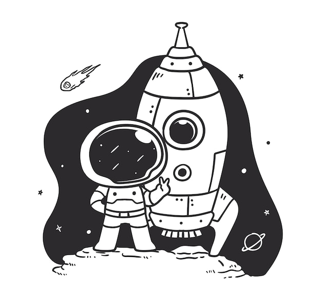 Doodle astronaut taking a photo with a rocket in space