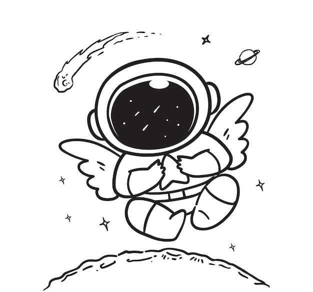 Doodle astronauts fly with wings in space