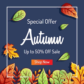 Doodle autumn background with colorful leaves for shopping sale