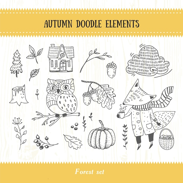 Doodle autumn forest collection