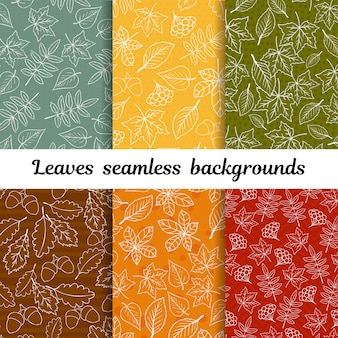 Doodle autumn leaves seamless background vector set
