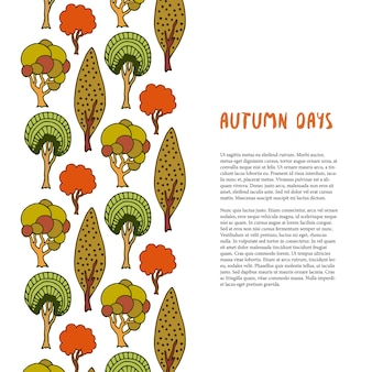 Doodle autumn trees border. hand drawn template. banner or poster, brochure, design