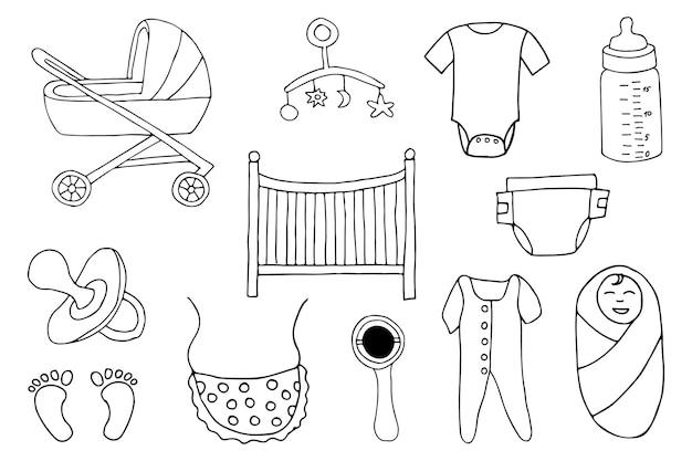 낙서 아기 물건 아이콘 모음입니다. 손으로 그린 아기 물건 아이콘 모음입니다.