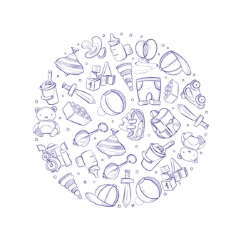Doodle baby toys vector icons in circle design