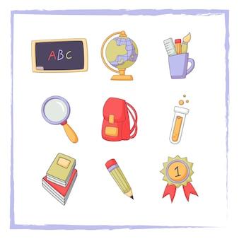 Doodle back to school elements set