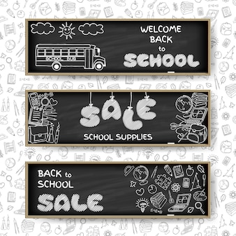 Doodle back to school sale banners