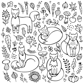 Doodle background with foxes and floral elements