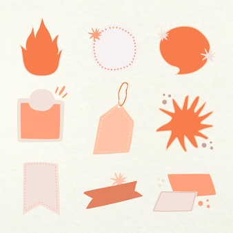 Doodle badge sticker, peachy pastel blank clipart vector collection