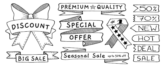 Doodle banners, flags, ribbons and tags set, hand drawn with thin line. vector illustration isolated on white background