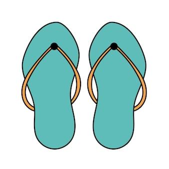 낙서 해변 슬리퍼. 여름 신발. 흰색 배경에 고립 된 간단한 그림입니다. 여름 아이콘