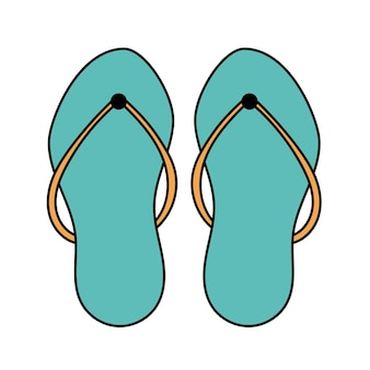 Doodle beach flip flops. summer shoes. simple illustration isolated on white background. summer icon