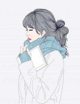 Doodle beautiful woman drawing.the woman saved her memory book and winter with a warm scar