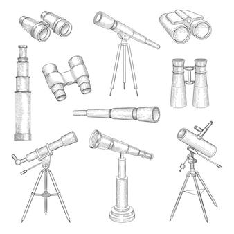 낙서 쌍안경. 여행자 쌍안경 망원경 군사 광학 벡터 손으로 그린 세트를 위한 탐험가 장비. 그림 망원경 스케치, 장비 렌즈 도구