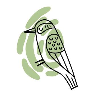 白い背景で隔離の色の抽象的なスポット手描きの鳥に落書き鳥