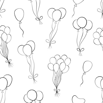 Doodle birthday balloon in seamless pattern with doodle or hand drawn style