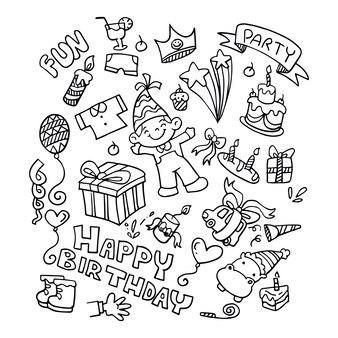 Doodle birthday elements