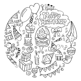 Doodle birthday elementsprint