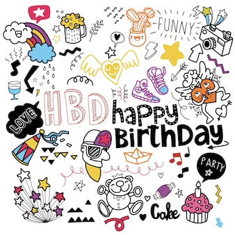 Doodle birthday party background ,hand draw birthday element