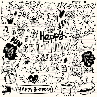 Doodle birthday party elements ,hand draw set