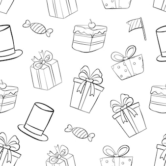 Doodle birthday party in seamless pattern on white