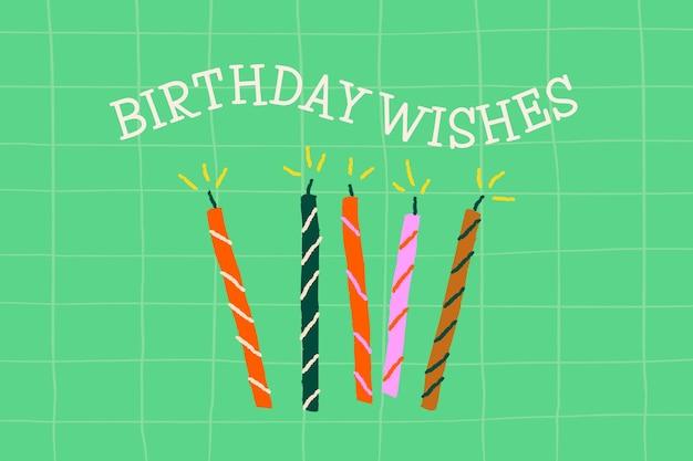 Doodle vettore modello festa di compleanno con banner candele carino