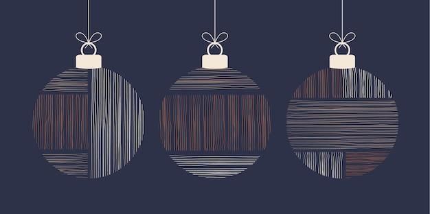 落書き自由奔放に生きるクリスマスコンセプトボールセット。タッセル付きの装飾おもちゃ、青い背景に分離されたフリンジ。パステルカラーとテラコッタカラーのお祝いの装飾。ベクトル新年イラスト
