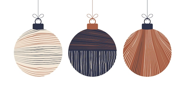 Doodle boho christmas concept balls set. decoration toys with tassels, fringe isolated on white background. pastel and terracotta colors festive decoration. vector new year illustration.