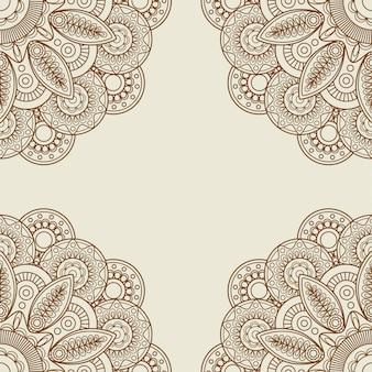 Doodle boho floral henna tattoo frame