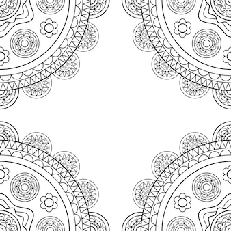 Doodle boho frame in black and white