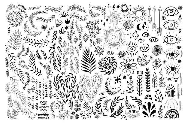 낙서 boho 빈티지 꽃 세트입니다. 소박한 그래픽 스타일의 보헤미안 기호입니다. 컬렉션 실루엣 달, 꽃, 화살표입니다. 벡터 일러스트 레이 션 흰색 배경에 고립입니다. 부족의 눈, 아즈텍 장식품