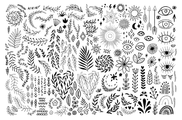 Doodle boho vintage floral set. bohemian symbols in rustic graphic style. collection silhouettes moon, flower, arrows. vector illustration isolated on white background. tribal eyes, aztec ornaments