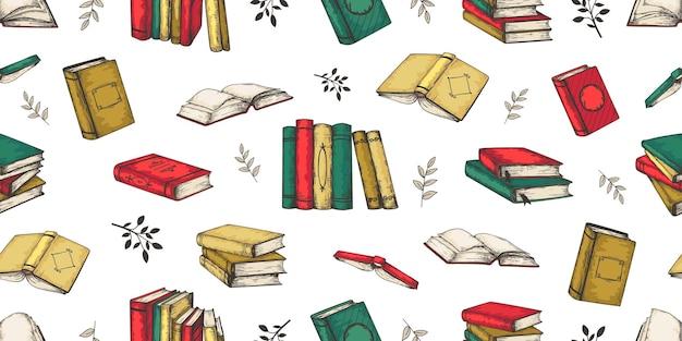 낙서 책 패턴. 원활한 빈티지 스택 및 다른 책, 잡지 및 노트북의 더미. 벡터 스케치 그린 낙서 복고풍 원활한 인쇄 디자인 청소년 문학