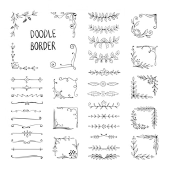 Doodle border. flower ornament frame, hand drawn decorative corner elements, floral sketch pattern. doodle frame elements