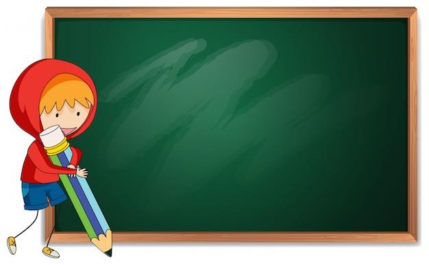 Doodle boy holding pencil blackboard template