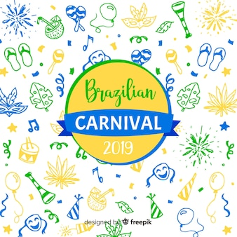 Doodle brazilian carnival background