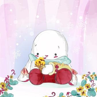 Doodle bunny картина акварель в цветочные.