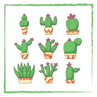 Набор элементов каракули кактус