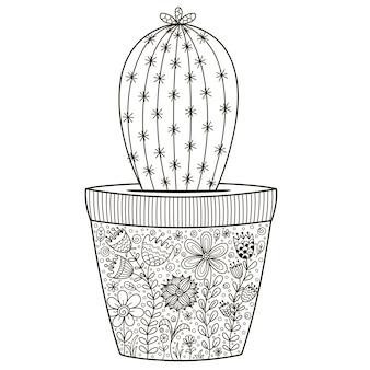 Каракули кактус в горшке с цветочным орнаментом для раскраски
