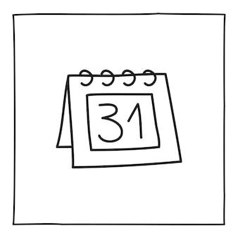落書きカレンダーの月末のアイコンまたはロゴ、細い黒い線で手描き。白い背景で隔離。ベクトルイラスト