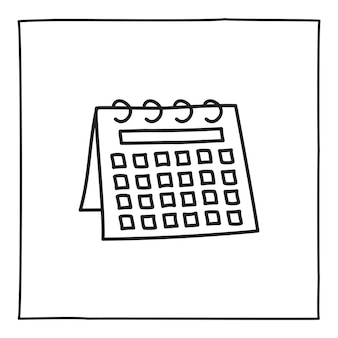 Doodle calendar schedule icon or logo, hand drawn with thin black line. isolated on white background. vector illustration