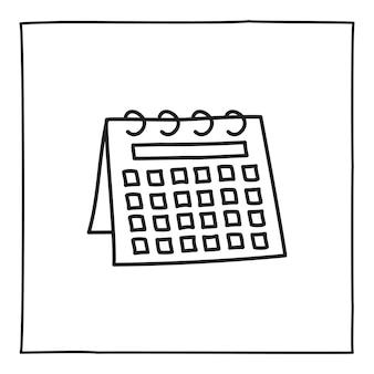 落書きカレンダースケジュールアイコンまたはロゴ、細い黒い線で手描き。白い背景で隔離。ベクトルイラスト