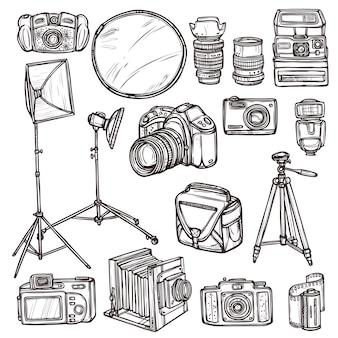 Doodle camera icons set
