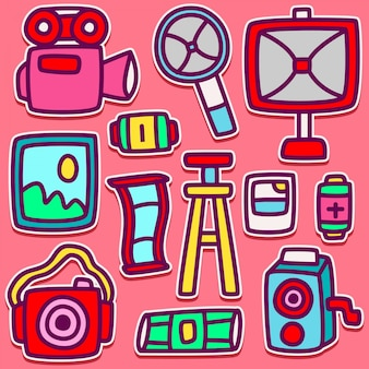 Doodle camera illustration design