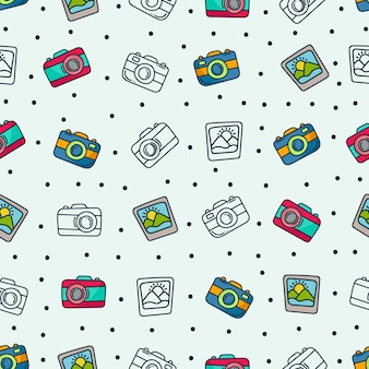 Doodle camera pattern. photography background design