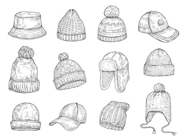キャップを落書き。ニットの冬の帽子、手描きの暖かいキャップベクトル分離コレクション