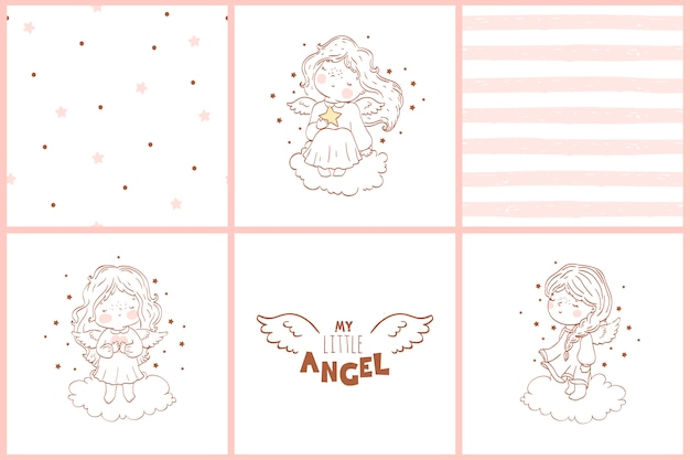 Doodle cards with angels and seamless patterns collection